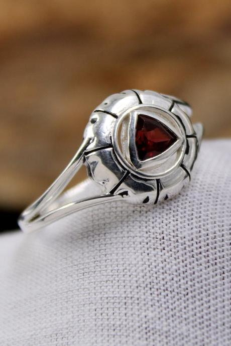 Garnet Oxidized Women's Gift Ring,Solid 925 Sterling Silver Jewelry,Anniversary Gift Ring,Birthday Gift Present