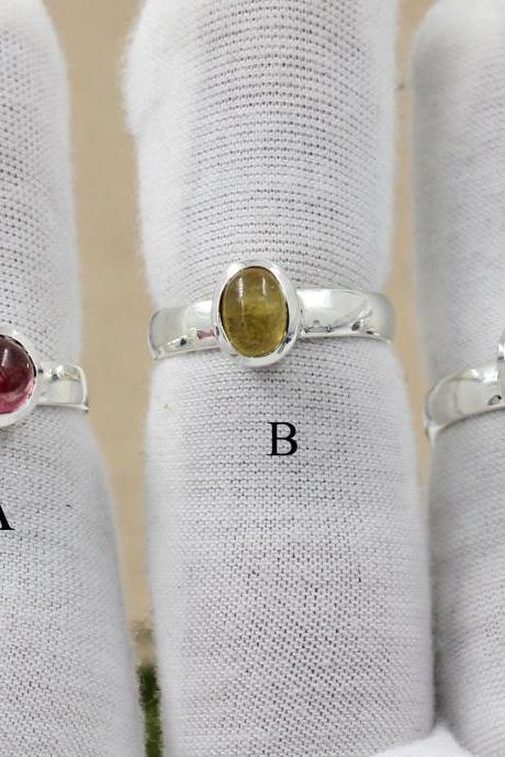 Exquisite Tourmaline Ring,Stacking Handmade Ring,Solid 925 Sterling Silver Gemstone Jewelry,Engagement Solitaire Ring,Valentine Ring Present