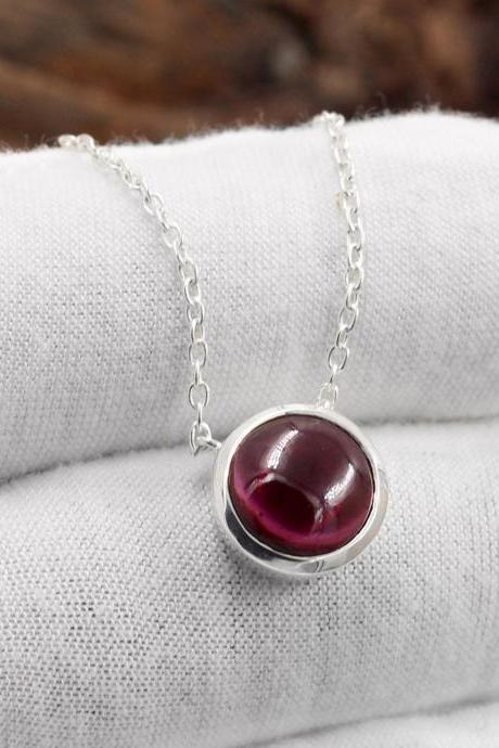 Classic Garnet Necklace,Natural Gemstone Cabochon 10 mm,Solid 925 Sterling Silver Jewelry,Anniversary present,Exclusive graduation Present