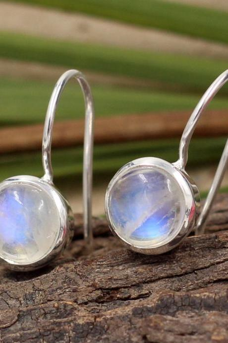 Exquisite Moonstone Earrings,Handmade Dangler,Solid 925 Sterling Silver Jewelry,Anniversary Present, Valentine gift,Rainbow fire Gemstone