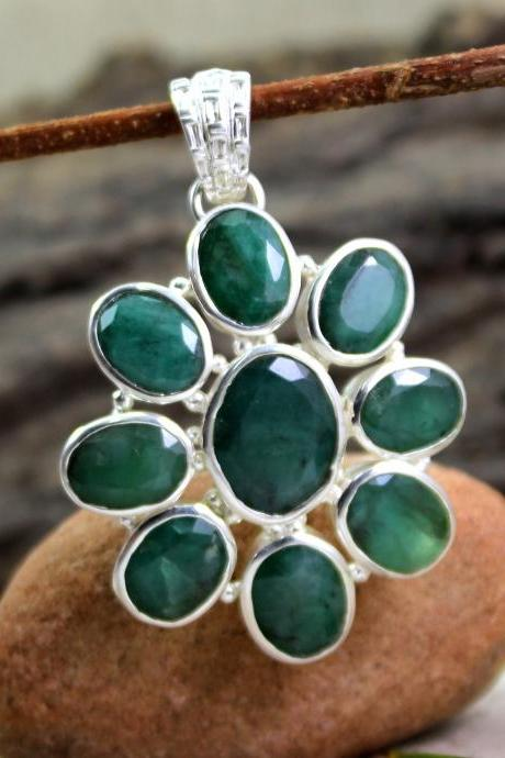 Real Emerald Pendant,Solid 925 Sterling Silver,Statement Jewelry,Genuine Gemstone,Thanks Giving Pendant for MOM,Anniversary Present ETP036