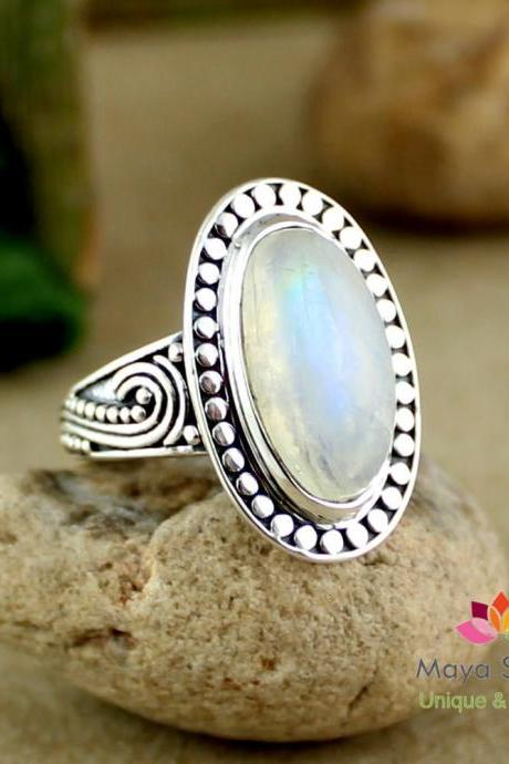 Ornate Moonstone Ring,Birthday Gift For Daughter ,925 sterling silver handmade Jewelry,Natural Gemstone Anniversary Ring,Ring For Mom MR1024