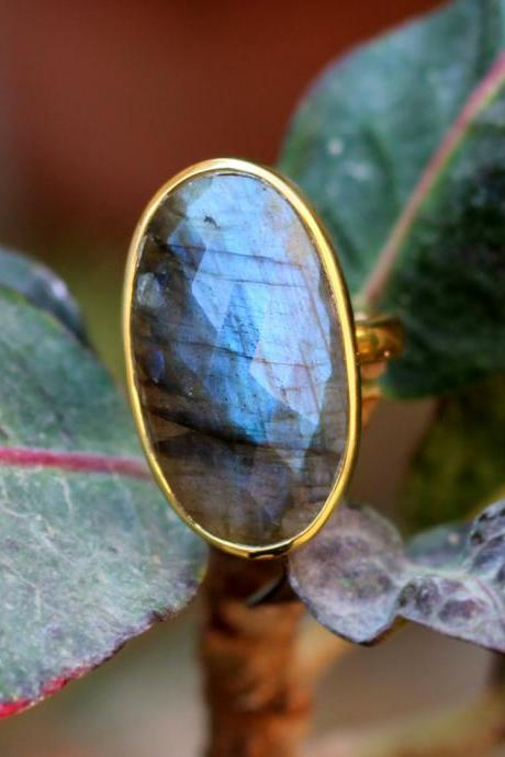 1 Micron Gold Plated Ring,Fire Labradorite Handmade Ring,925 Sterling Silver Wedding Jewelry,Anniversary Ring,Exclusive Party Ring,MR1001