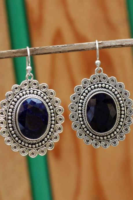 Blue Sapphire Earring,Exquisite Traditional Jewelry,925 sterling silver,Handcraft Dangler,Gift for Girl Friend,Anniversary Gift ETER210