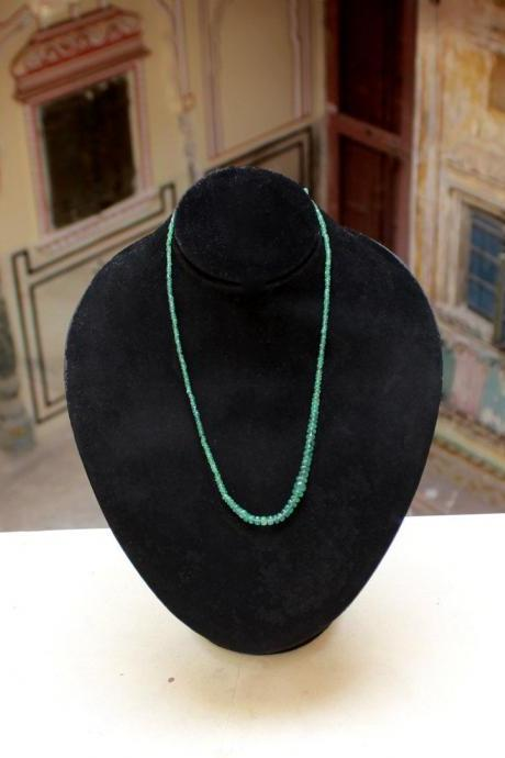 Anniversary Present for Wife,Affordable String of Real Emerald Beads,Wedding Gift,Natural Untreated Emerald Necklace,Mom's Birthday Jewelry