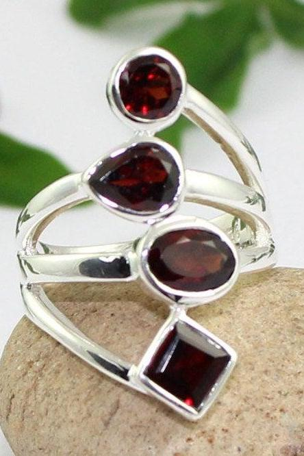Beautiful Red Garnet Ring,Fourth Anniversary Gift,925 Sterling Silver,Women jewelry,Handcrafted Ring,Cocktail Ring,Long Slender Ring,MR1014