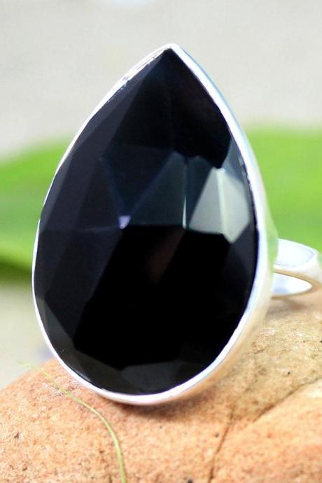Black Onyx Cocktail Ring,Genuine Gemstone Jewelry, Solid 925 sterling silver Jewelry,Anniversary Gift for Spouse Thanksgiving Present,MR1015