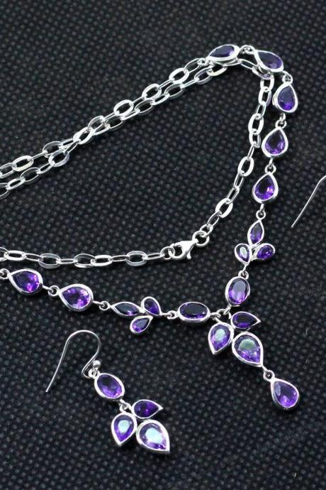 Exclusive Gift for Bride's Maid,Purple Amethyst,Wedding jewelry,Proposal Necklace Earring Set,solid 925 sterling silver,Anniversary Gift