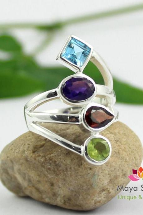 Multi color Party Ring,Peridot Swiss Blue Topaz Ring,925 sterling silver,Faceted Gemstone Jewelry,Cute Birthday gift,Valentine Gift MR1153