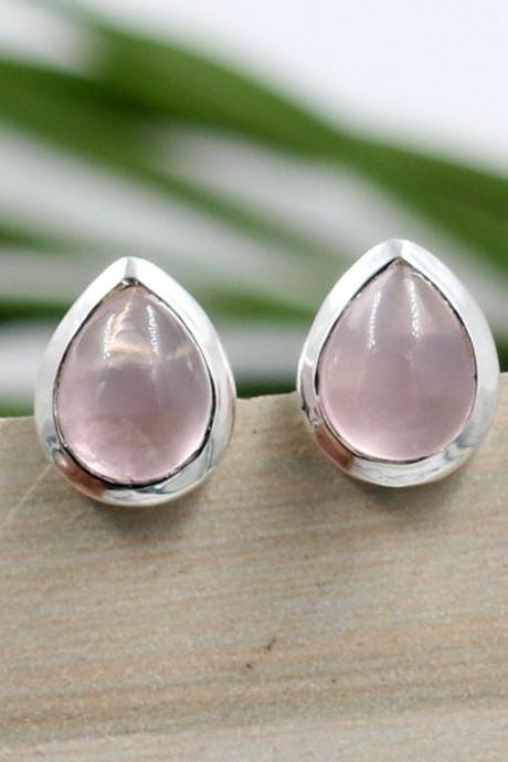 Rose Quartz Stud Earring,Solid 925 Sterling Silver Jewelry,Bridal, Pear Shape Handmade Earring ,Daughter's Birthday Gift Earring,