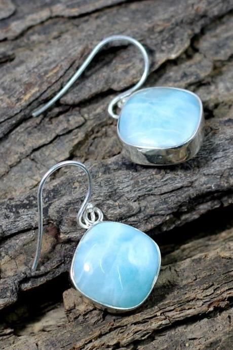 Dominican Larimar Earring,925 Sterling Silver Earring,Blue cabochon danglers,925 Sterling Silver Jewelry,Handmade Anniversary Gift Earring