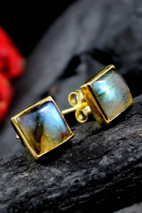Smart Stud Post earring,Fire Labradorite gold plated Earring,solid 925 sterling silver jewelry,Casual Daily Wear,natural gemstone Cabochon