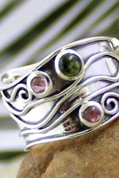 Authentic Tourmaline Ring,Broad Band Thumb Ring,Multi Color Tourmaline Men's ring,925 sterling silver Gemstone jewelry,Christmas Gift MR1012