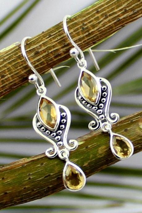 Lovely Citrine drop earring,for all occasions, artisan handmade jewelry,Solid Sterling 925 silver jewelry,For daughter,Gift for Girl Friend.