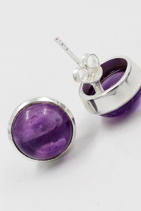 Beautiful Amethyst Cabochon Stud Earring,Solid 925 Sterling Silver Jewelry,Purple Amethyst Post Stud,Birthday Gift,Adorable Christmas Gift.