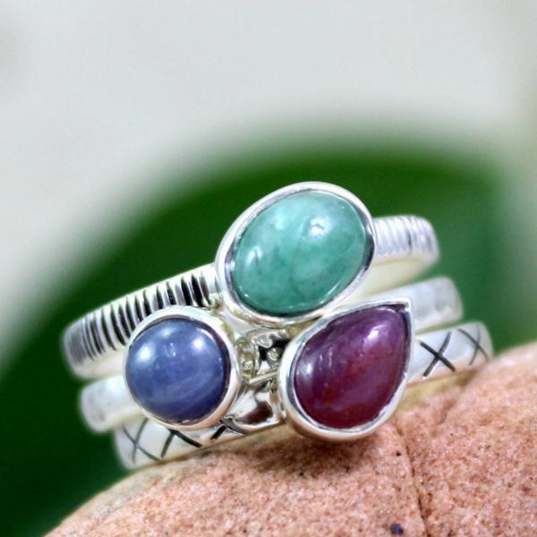Real Ruby,Emerald,Sapphire Stacking Rings,Engagement Ring,Anniversary gift ring,925 Sterling Silver Jewelry,Anniversary Gift, Proposal ring.